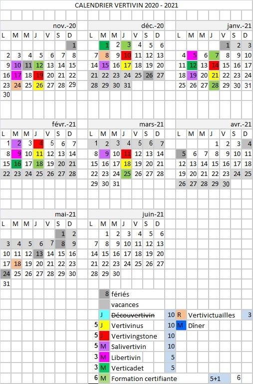 Calendrier Actualisation 2021 Calendrier 2020/21 | Vertivin